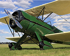 Vintage airplane with double wing