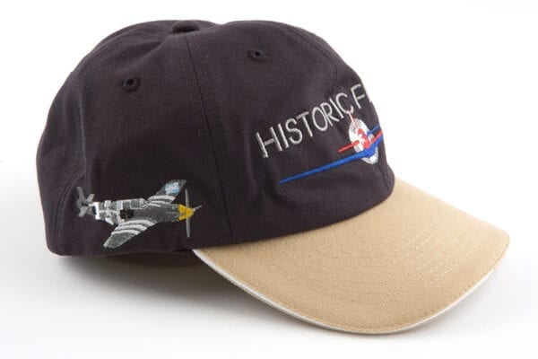 Black and Tan Historic Flight Cap side with grey airplane