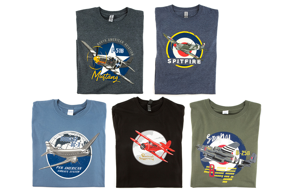 Five shirts with airplane prints